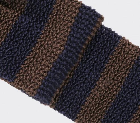 Cravate Tricot Rayée Marron Marine - Cinabre paris