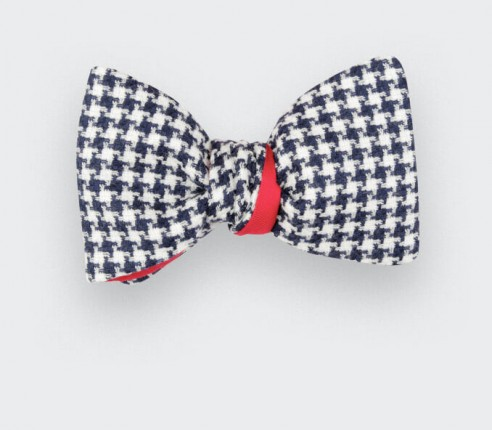 Blue and White Houndstooth Bow tie  - Cinabre Paris