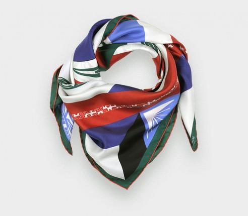Red Les Marquises Tikiti silk scarf 90 - Cinabre Paris