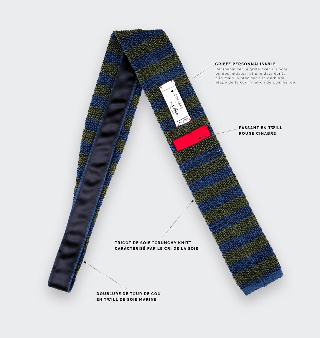 Kaki Blue Striped Knitted Tie - Silk - Cinabre Paris