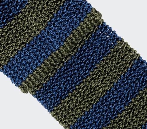 Cravate Tricot Rayée Kaki Bleu - Soie- Cinabre paris