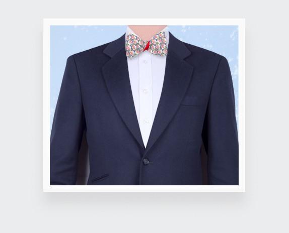 Pink flower bow tie - cotton