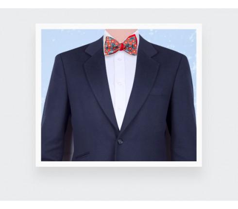 Orange and blue flower bow tie - cotton