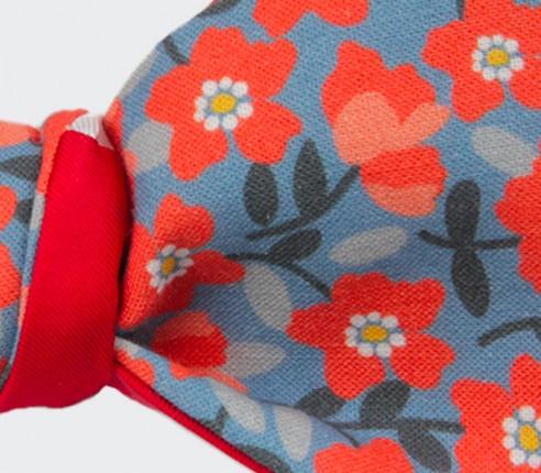 Noeud Papillon Fleuri Orange et Bleu - cotton