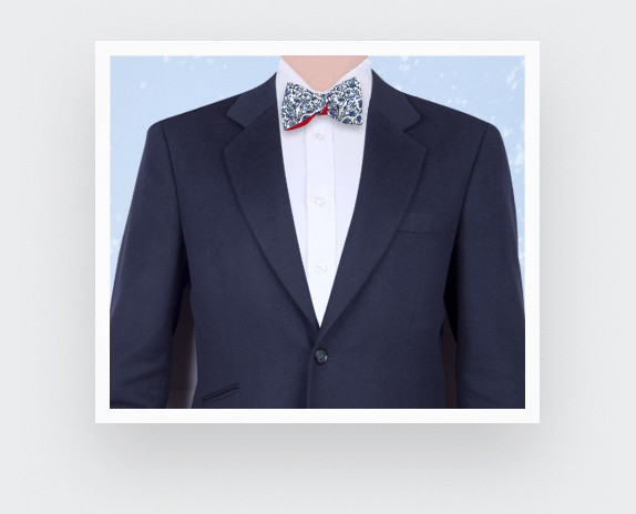 White Blue Cinabre Flowery Bow Tie - Cinabre Paris