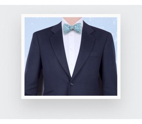 Blue Grey Cinabre Flowery Bow Tie - Cinabre Paris