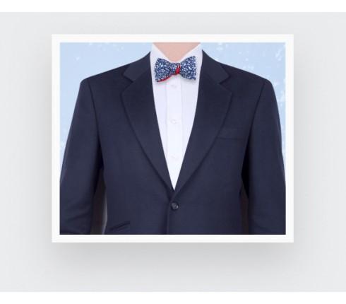 Navy Blue Cinabre Flowery Bow Tie - Cinabre Paris