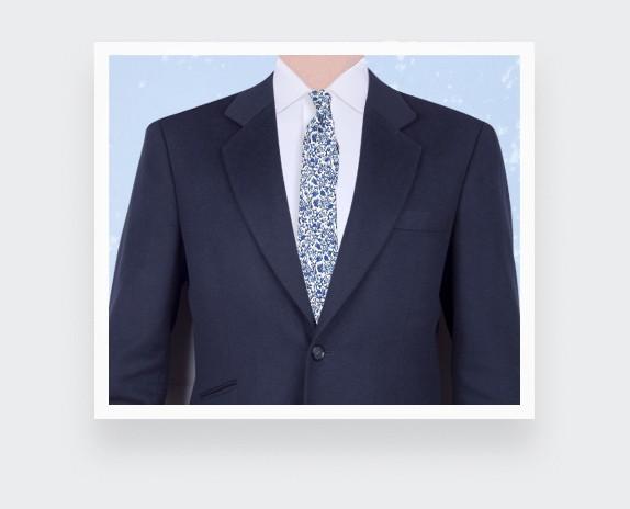 White Blue Cinabre Flowery Tie - Cinabre Paris