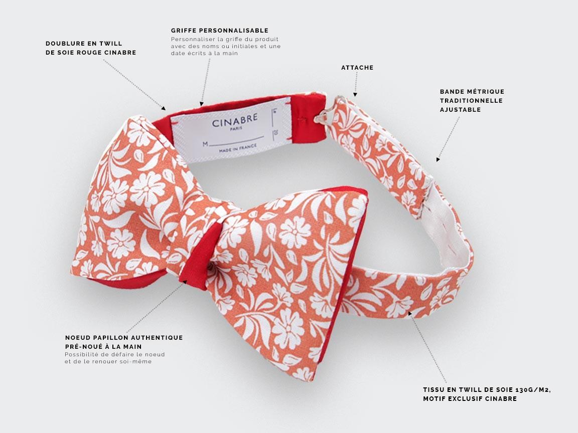 Orange Surf Flower Bow Tie - Cinabre Paris