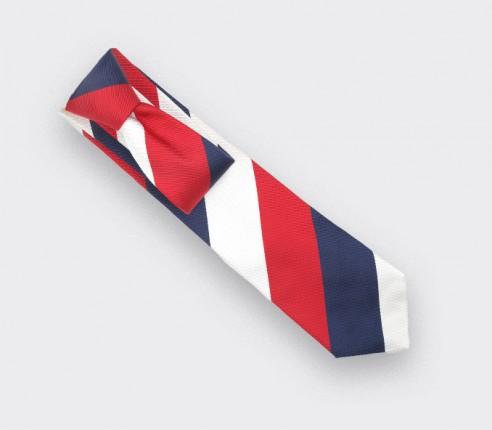Cravate Club Preppy Blanc  - soie - Cinabre Paris