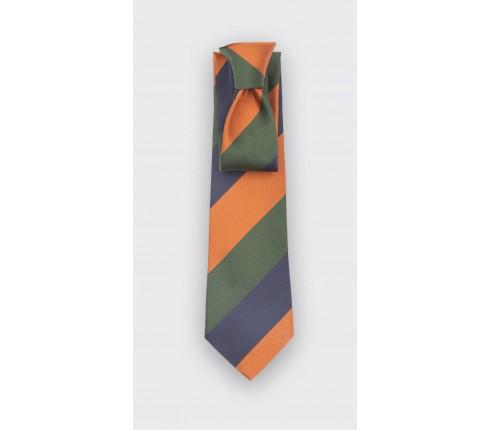 Navy Orange Green Striped Tie - Silk - Cinabre Paris
