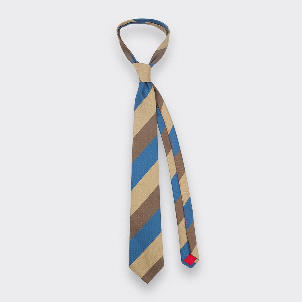 Brown Blue Preppy Club Tie - Silk - Cinabre Paris