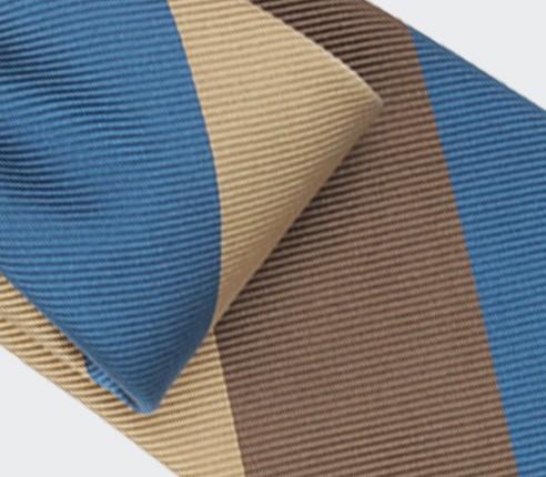 Beige Brown Blue Striped Tie - Silk - Cinabre Paris