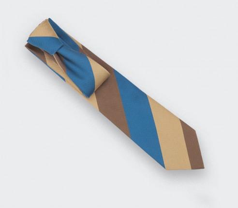 Cravate Club Preppy Marron Bleu - soie - Cinabre