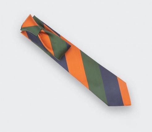Cravate Club Preppy Orange - soie- Cinabre Paris