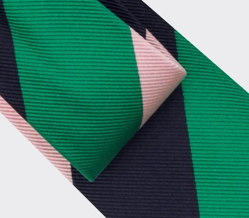Cravate Club Vert Rose Marine - soie- Cinabre Paris
