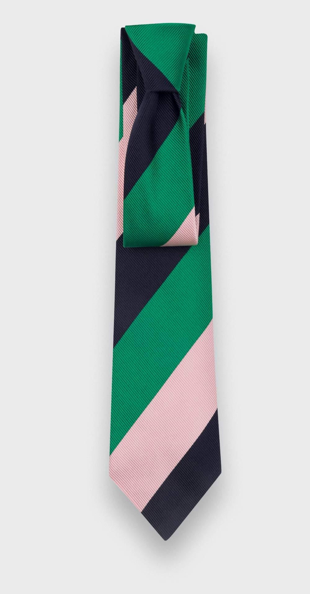 Green Pink Navy Striped Tie - Silk - Cinabre Paris