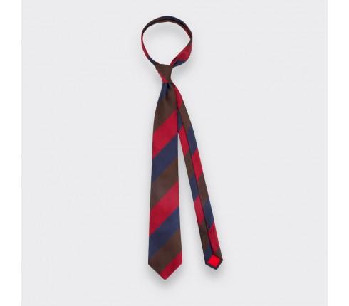 Chocolate Red Navy Striped Tie - Silk - Cinabre Paris