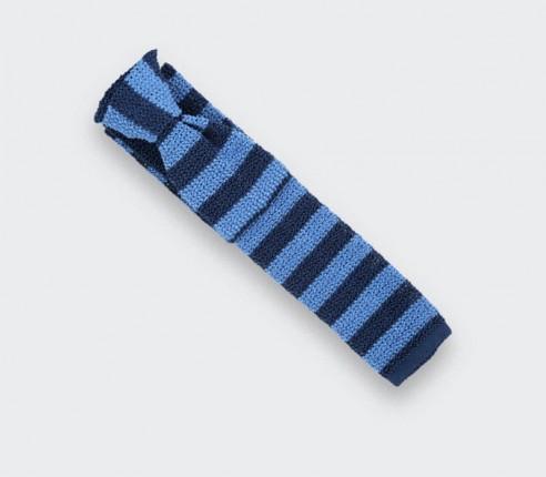 Navy Blue Striped Knitted Tie - Silk - Cinabre Paris