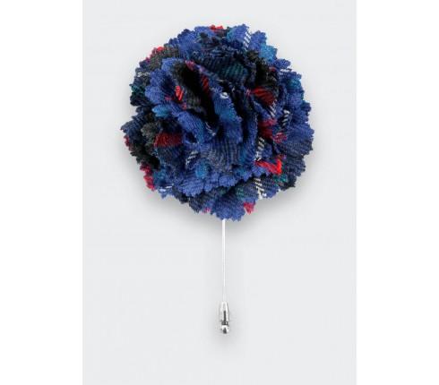 Blue Fitzgerald Tartan Lapel Pin - Cinabre Paris