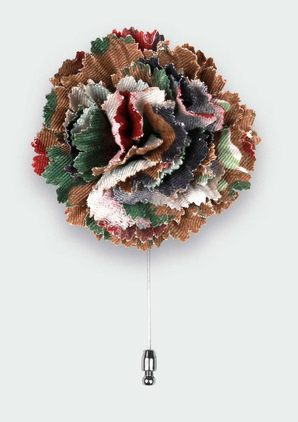 Swiss Camo Flower Lapel Pin - Cinabre Paris
