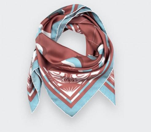 Terracotta Marquises Aller Simple silk scarf 90 - Cinabre Paris