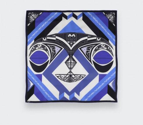 Bandana Soie Les Marquises Tikiti Bleu - Cinabre Paris