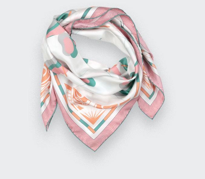 Pink Marquises Aller Simple silk scarf 90 - Cinabre Paris