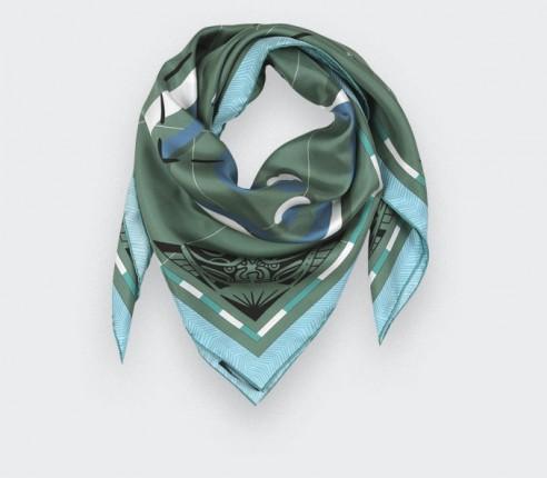 Green Marquises Aller Simple silk scarf 90 - Cinabre Paris
