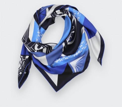 Blue Marquise Tiki silk scarf 90 - Cinabre Paris