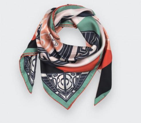 Green Les Marquises Tikiti silk scarf 90 - Cinabre paris