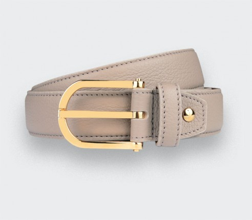 Beige Leather Belt - Bull calf leather - Cinabre Paris