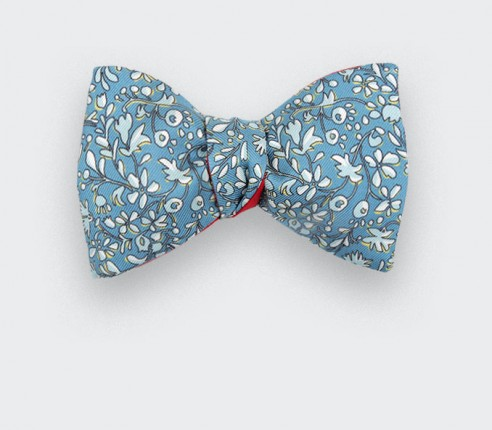Noeud Papillon Fleuri Cinabre Bleu Gris - Cinabre Paris