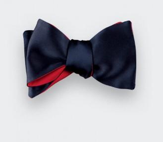 Midnight blue silk satin bow tie - Cinabre Paris