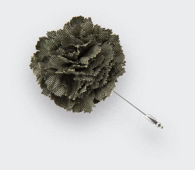 CINABRE - Green Herringbone Flower Lapel Pin - Made in France