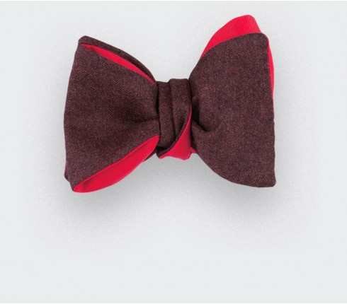 CINABRE Paris - Bow Tie - Flanelle Bordeaux - Hand Made
