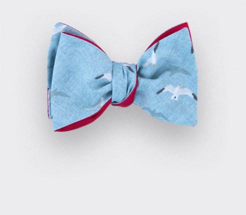 CINABRE Paris - Noeud papillon en coton bleu ciel aux motifs oiseaux blanc