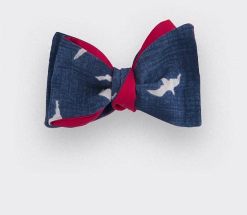 CINABRE Paris - Noeud papillon en coton bleu marine avec des oiseaux