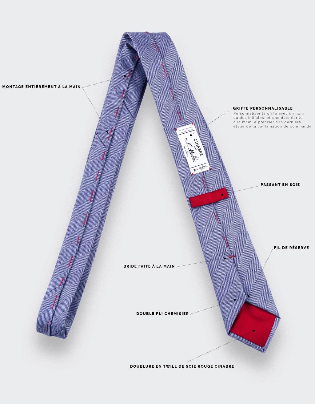 CINABRE - Tie - Chevron Denim - made in France