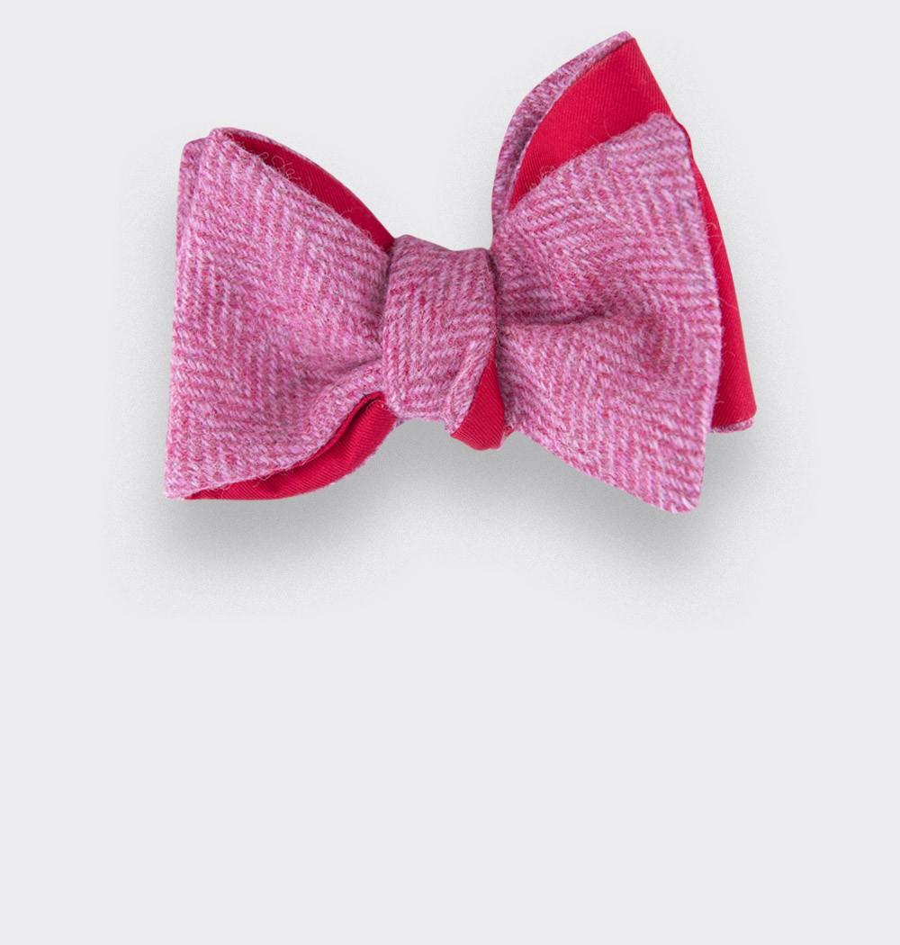 CINABRE Paris - Nœud Papillon - Tweed Chevron rose - Made in France
