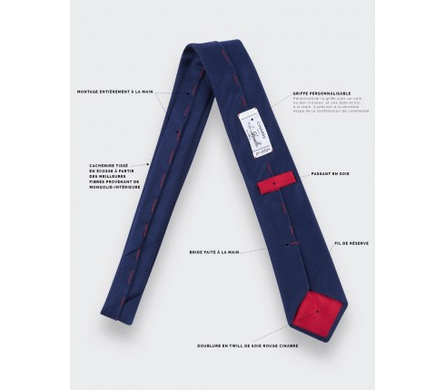 CINABRE Paris - Tie - Peau Bleu - Made in France