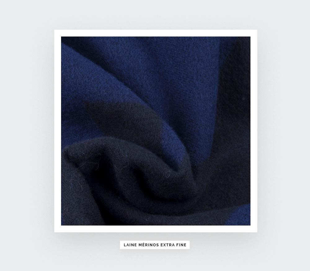 Écharpe bleu nuit Cinabre en merinos extra fine