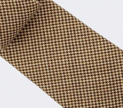 CINABRE - Cravate - Pied de Poule Moutarde - Laine made in France
