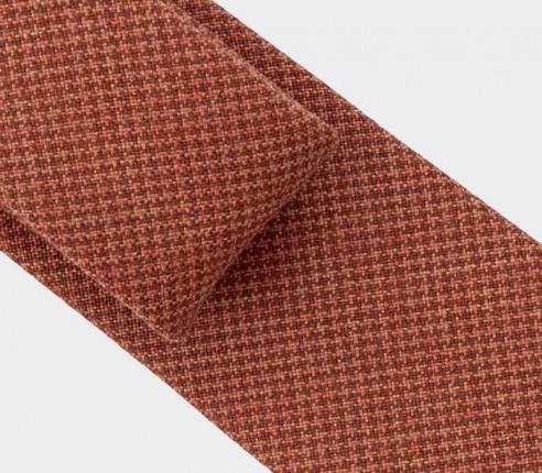 CINABRE - Cravate - Pied de Poule Rouille - made in France