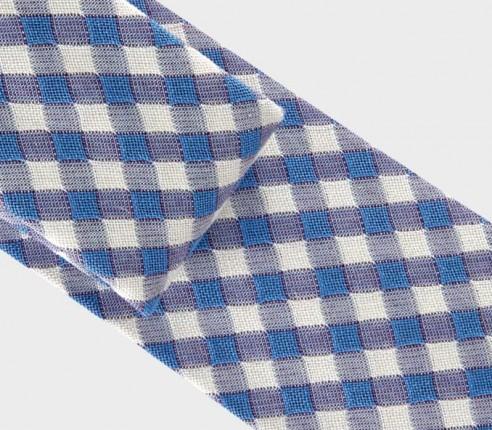 cravate vichy bleu ciel - coton et soie - cinabre paris