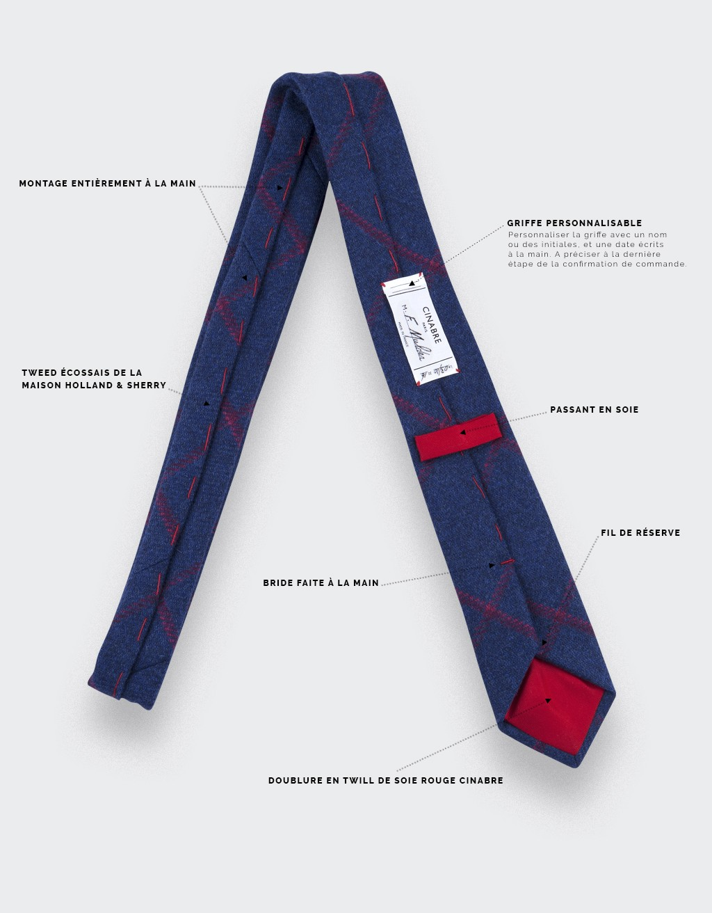 CINABRE Paris - tie - Carreaux Marine - Made in France