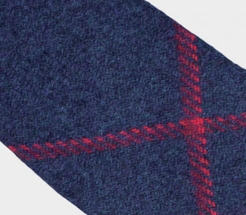 CINABRE Paris - Cravate - Tweed Carreaux Marine - Made in France