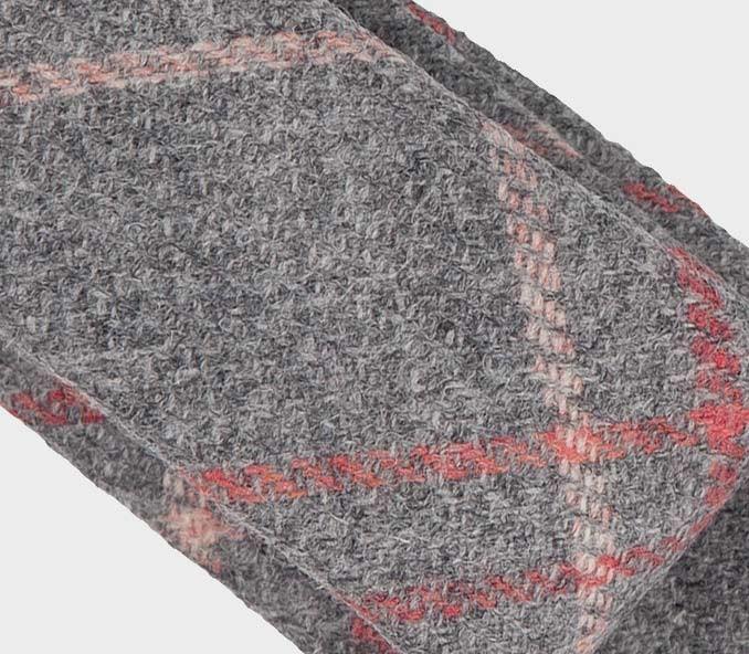 Cravate tweed carreaux gris - laine - fait main en France par CINABRE Paris