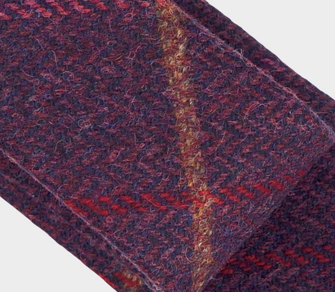 Tie - purple tweed made with wool - handmade in France by CINABRE Paris