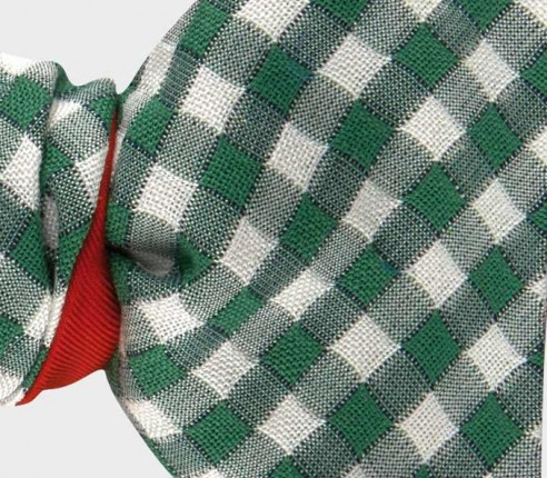 bow tie green Vichy - silk and cotton - CINABRE Paris